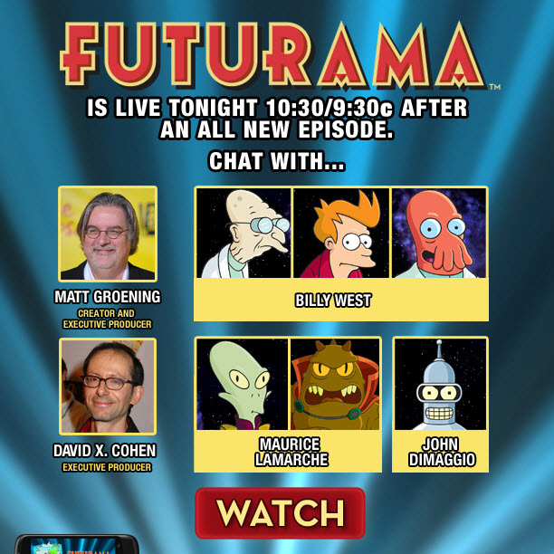 FUTURAMA™ IS LIVE TONIGHT 10:30/9:30c AFTER AN ALL NEW EPISODE.